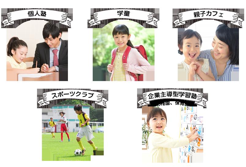 「個人塾」「学童」「親子カフェ」「スポーツクラブ」「企業主導型学習塾(幼稚園、保育園)」